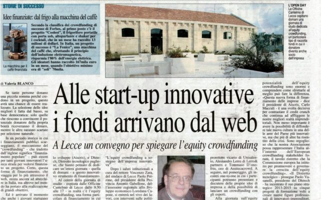 equity crowdfunding quotidiano 18-9-14